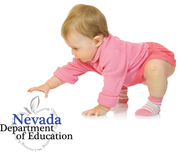 Baby playing with Nevada Department of Education logo